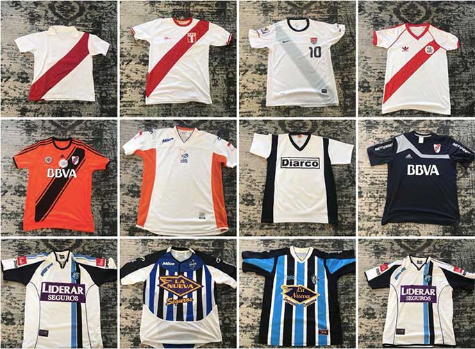 Some of Daniel's other shirts including a Peru national team shirt (top row, second from left), a US national team shirt from 2010 (top row, third from left) and Atlanta Sport from Argentina (bottom row, second and third from left)