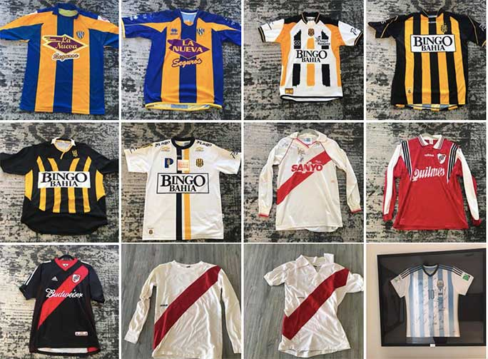 Other shirts from the collection including Atlanta Sport from Argentina (top row, first and second from left), Olimpo de Bahia Blanca from Argentina (top row, third and fourth from left and second row, first and second from left) and Argentina national shirt (bottom right)