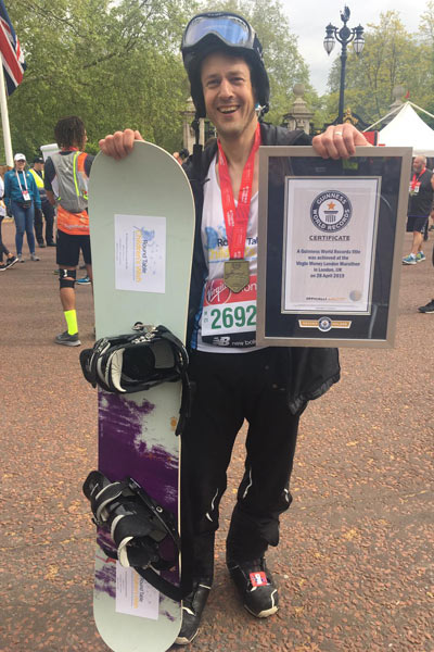 Fastest marathon dressed as a snowboarder (male)