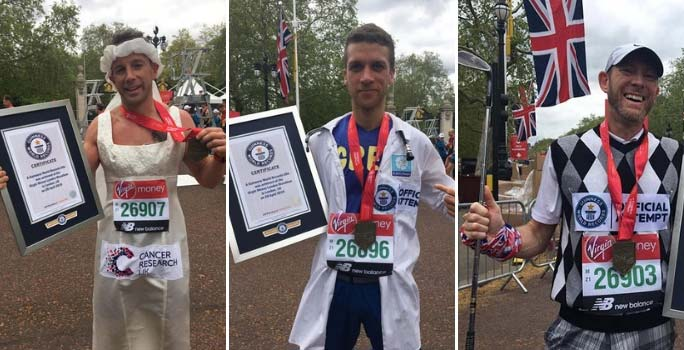 Fastest marathons dressed as a doctor, wedding dress and golfer (all male)