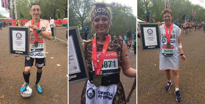 Fastest marathons dressed in a football kit (male), as a cavewoman (female) and hospital patient (female)