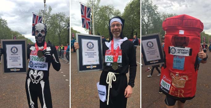 Fastest marathons dressed as a skeleton, nun and post box (all male)