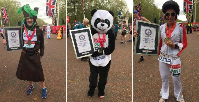 Fastest marathons as a tree (male), in a full-body animal costume (female) and as Elvis (female)