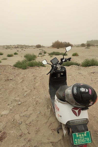 Longest journey electric scooter desert