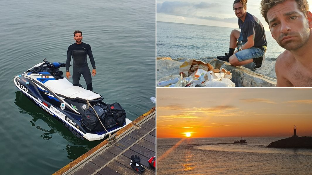 The longest open ocean journey by aquabike (jetski) unsupported is 3602 km (2238.18 miles) and was achieved by Lucas Del Paso Cánovas (Spain) between Sagres (Portugal) and Sapri (Italy)
