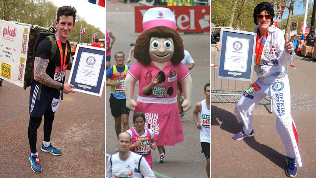 Some of the costumes worn by marathon runners who have achieved Guinness World Records titles