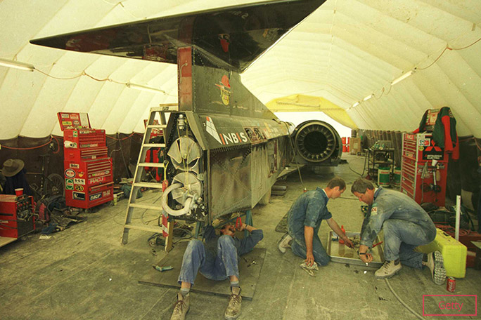 Mechanics working on Thrust SSC in the desert
