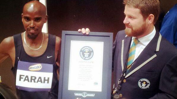 Olympics double gold medalist Mo Farah bags sack race record