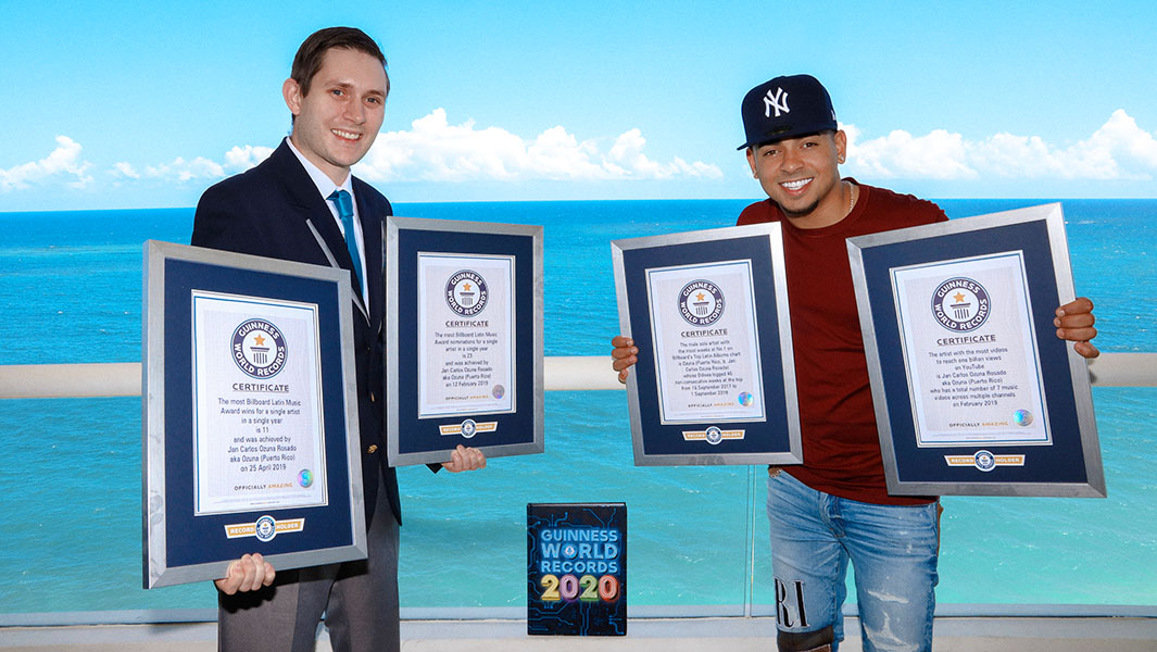 Latin music star Ozuna honoured with four record titles for his music achievements