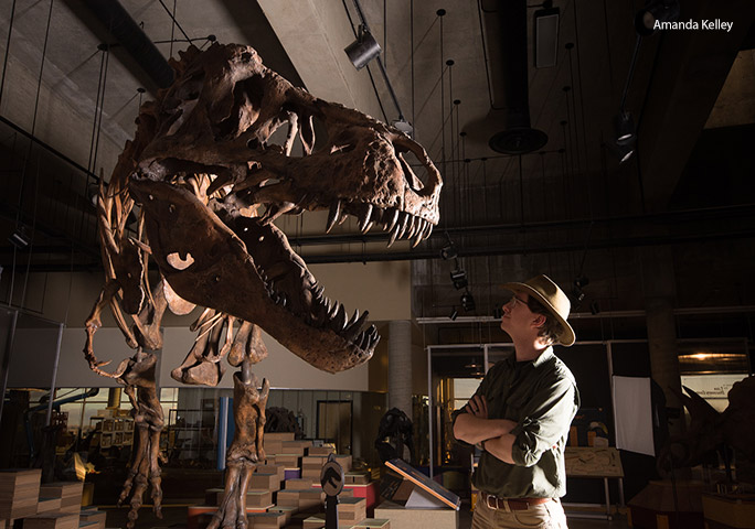 Scotty faces off with Dr W Scott Persons of the University of Alberta, who led the study into calculating the T. rex's proportions