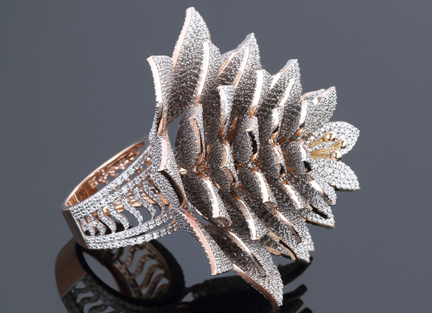 side profile of the ring with the most diamonds