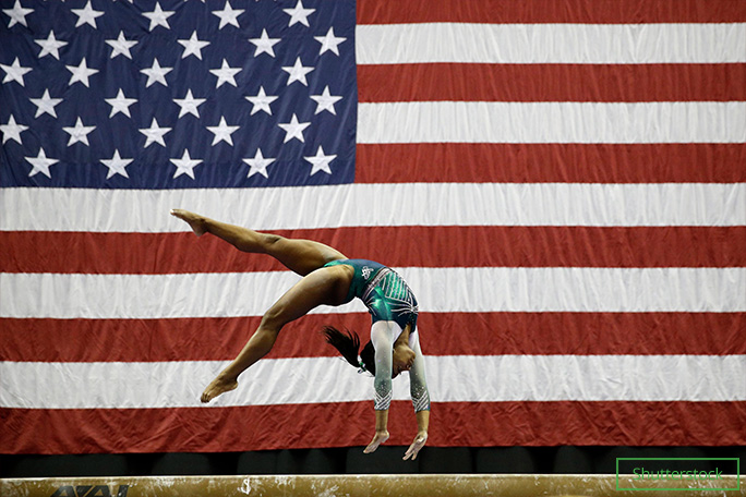 Simone executed the first double double dismount on beam in competition at the United States National Gymnastics Championships in Kansas City, Missouri, USA, on 9 Aug 2019...