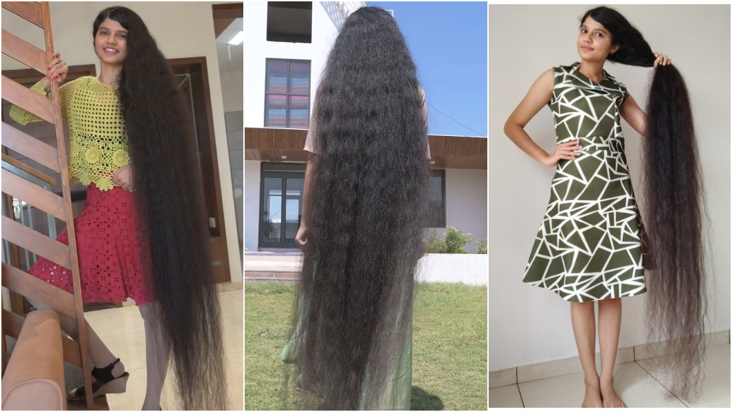 three images of nilanshi with longest hair ever on a teenager