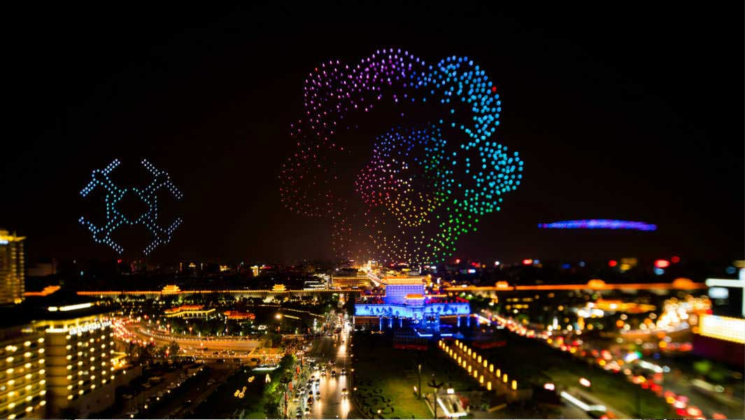 Video: Dazzling display over Chinese city as more than 1,300 drones take to the sky