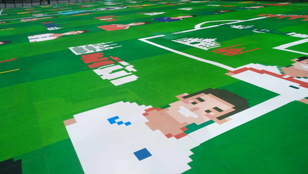 More than 500,000 people help create world's largest sticker mosaic for the World Cup