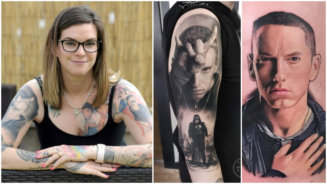 woman with 15 eminem tattoos on her body sitting down with two close up images of eminem portraits