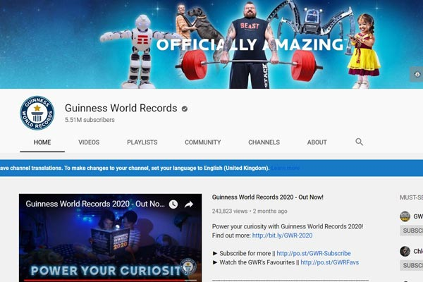 Guinness World Records YouTube