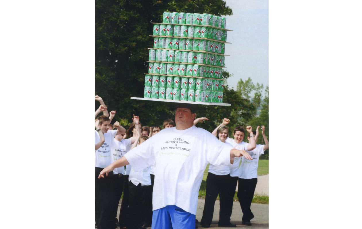 Most drink cans balanced on the head