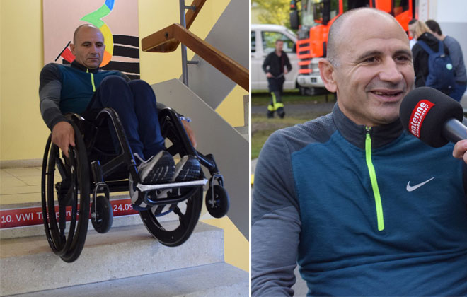 Most stairs descended in a wheelchair in one hour