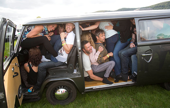 Most people crammed in a VW Campervan (Classic model)
