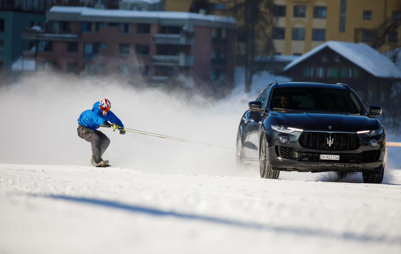Fastest speed for a snowboard towed by a vehicle