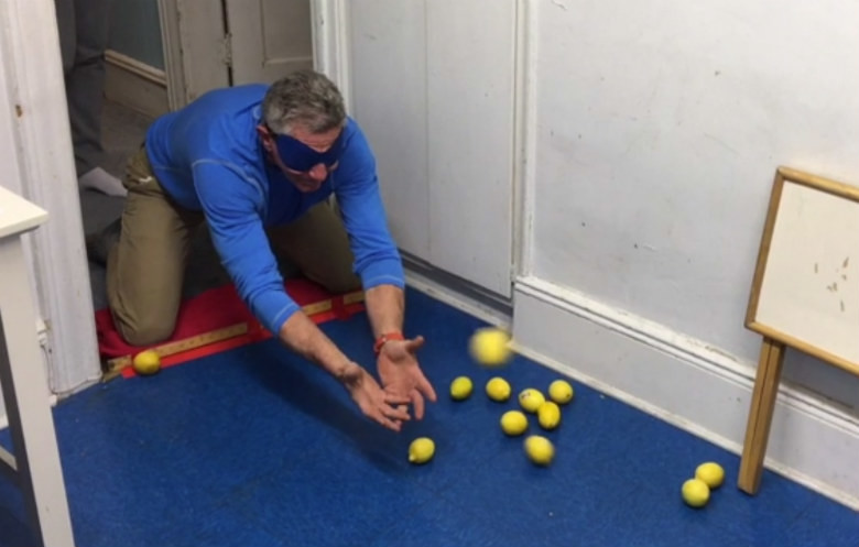 Most lemons caught blindfolded in 30 seconds (team of two)