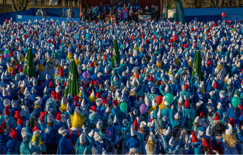 Most people dressed as Smurfs