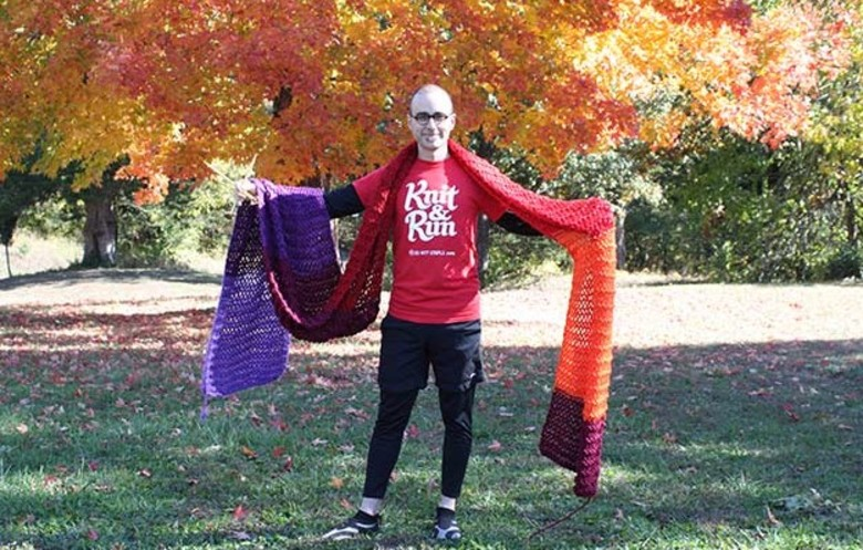 Longest scarf knitted whilst running a marathon