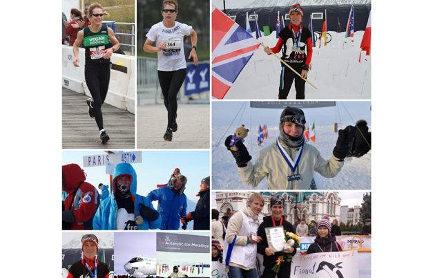 Fastest aggregate time to complete a marathon on each continent and the North Pole (female)