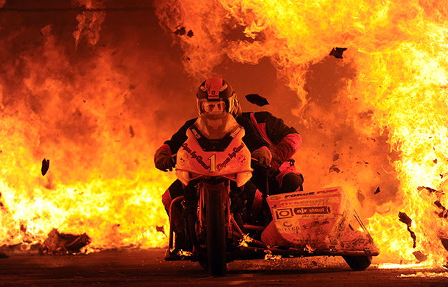 Longest motorcycle ride through a tunnel of fire