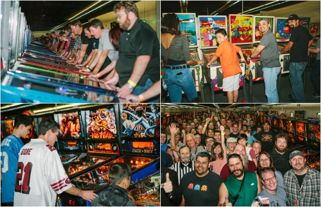Most people playing pinball simultaneously