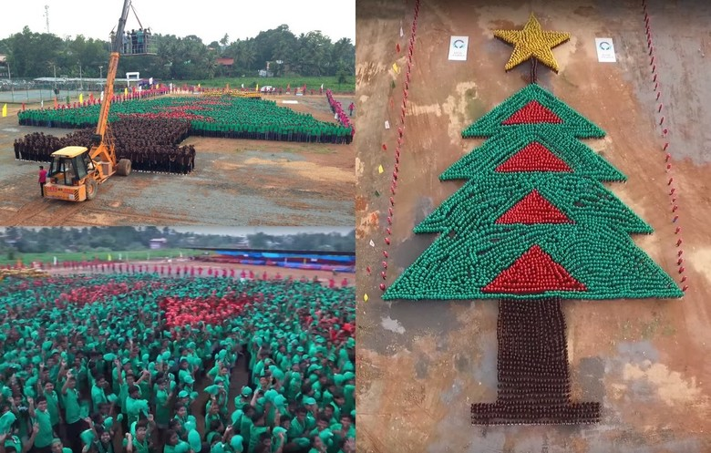 Largest human Christmas tree