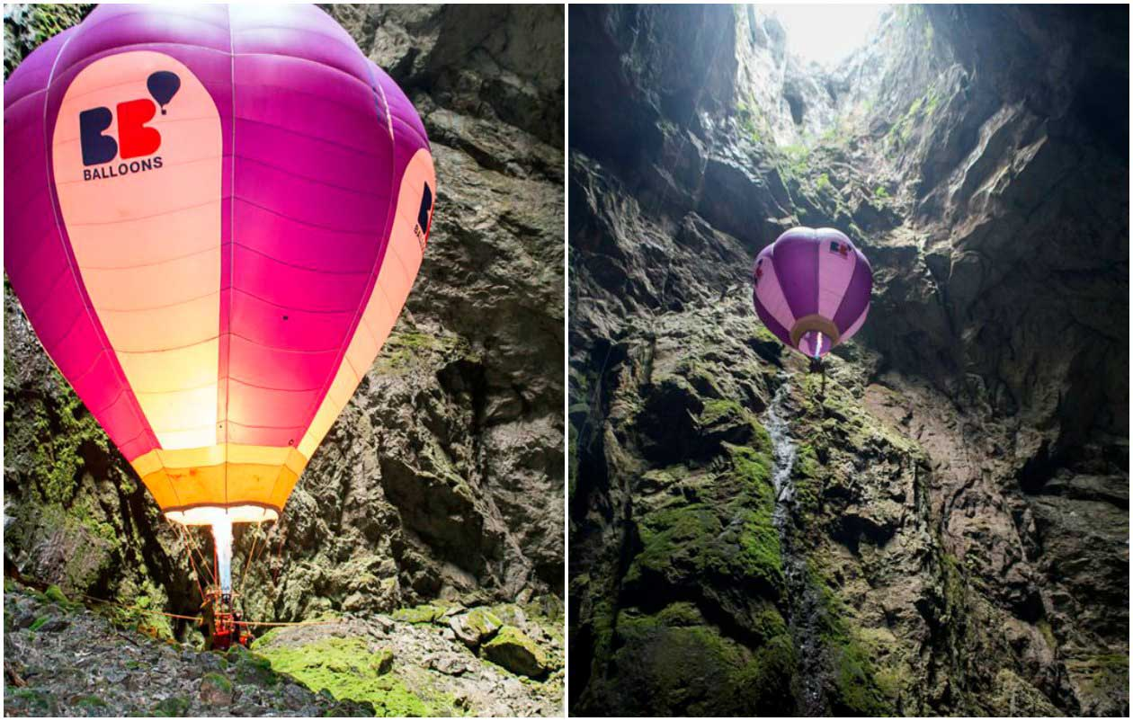 Deepest underground balloon flight