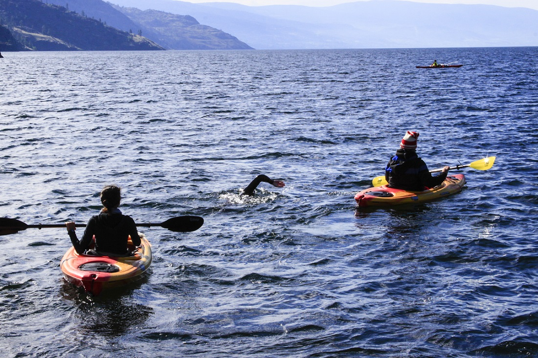 Fastest time to swim the length of Okanagan Lake (wetsuit)