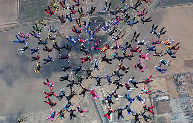 Parachuting - largest sequential freefall formation (women)