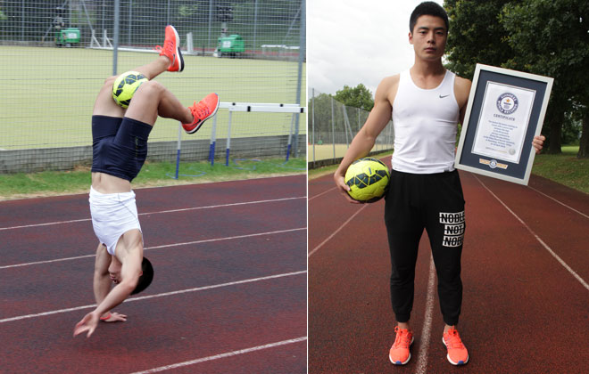 Fastest 50 metres walking on hands with a football (soccer ball) between the legs