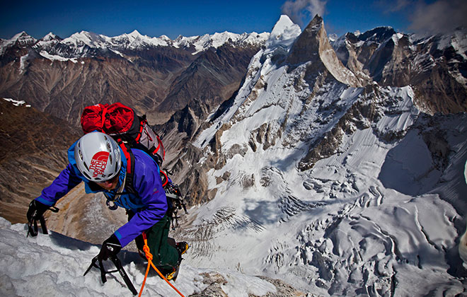 First ascent of the Shark's Fin route, Meru Peak