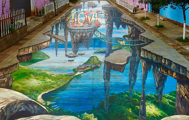 Largest anamorphic pavement art