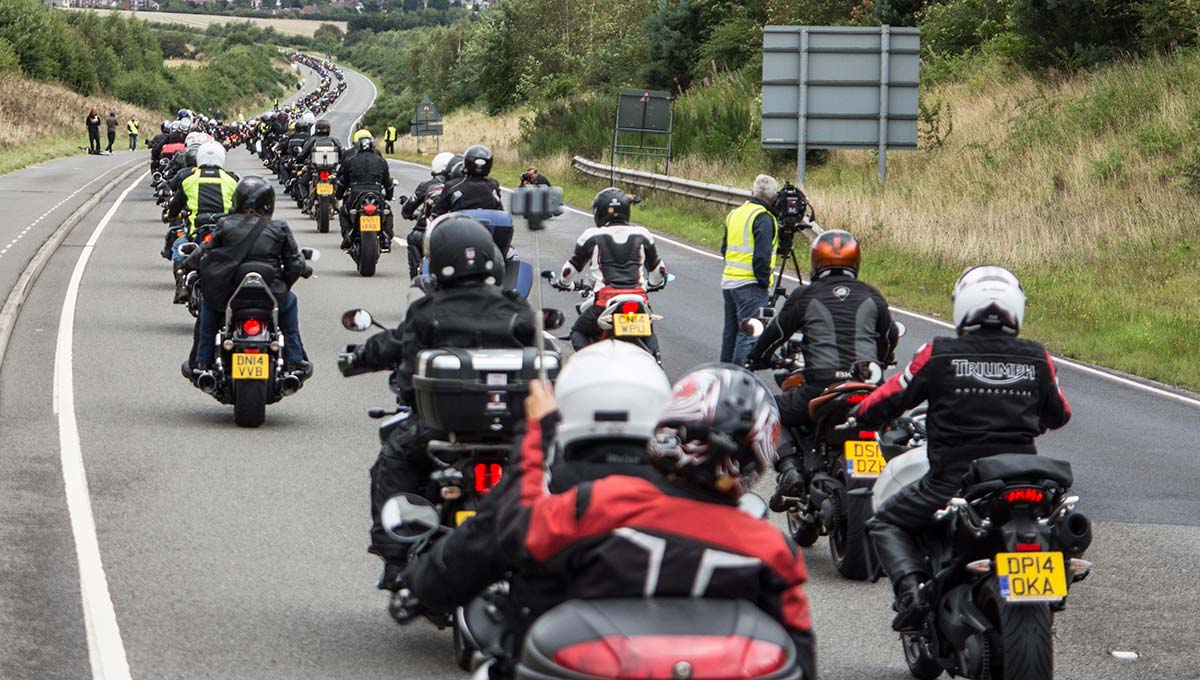 Largest parade of Triumph motorcycles