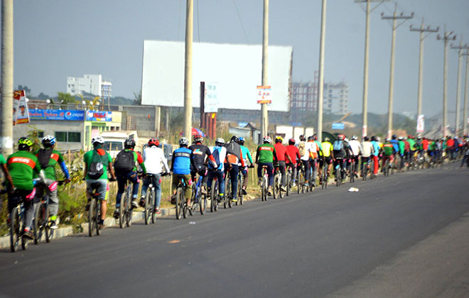 Longest single line bicycle parade