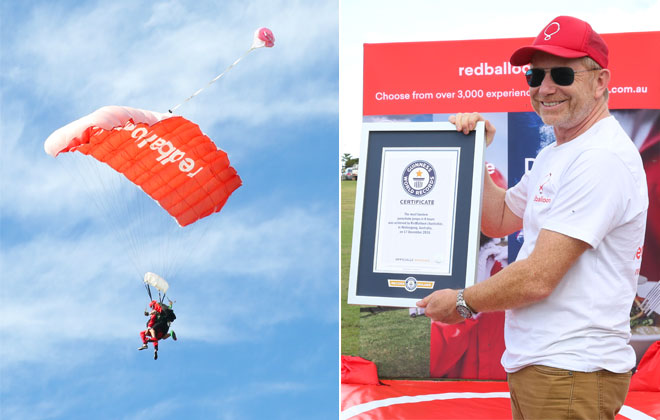 Most tandem parachute jumps in 8 hours
