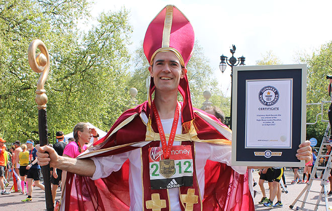 Fastest marathon dressed as a Bishop
