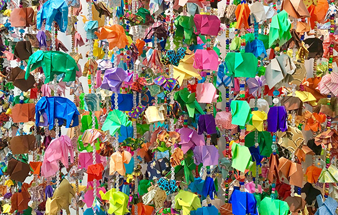 Largest display of origami elephants