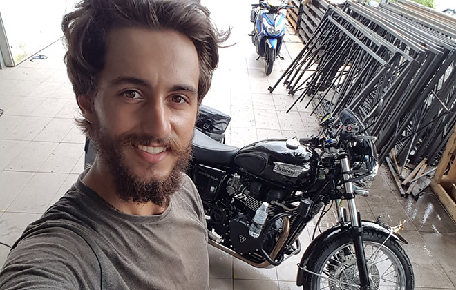 Youngest person to circumnavigate the globe by motorcycle (male)