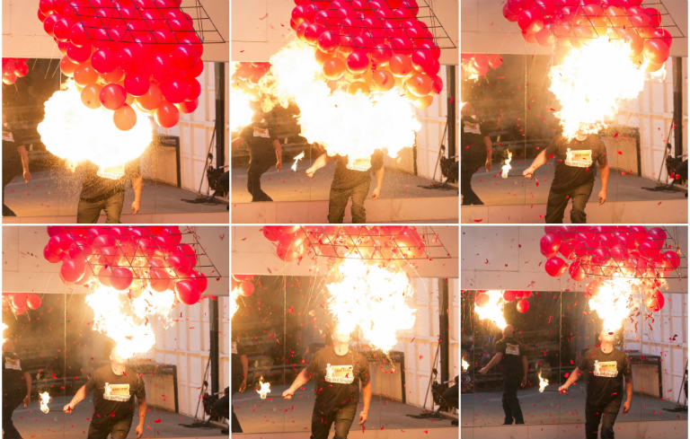 Most balloons burst with a blown flame by a fire breather