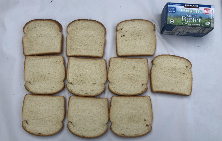 Fastest time to butter 10 slices of bread