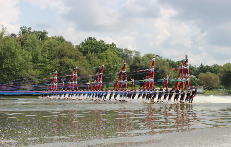 Largest human water skiing pyramid formation