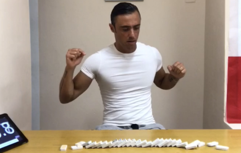 Fastest time to set up and topple a set of dominoes (individual)