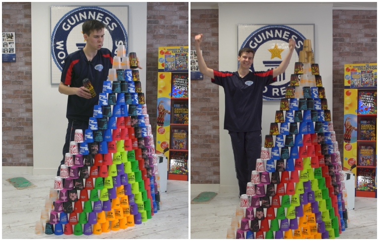 Fastest time to build a 171 cup pyramid