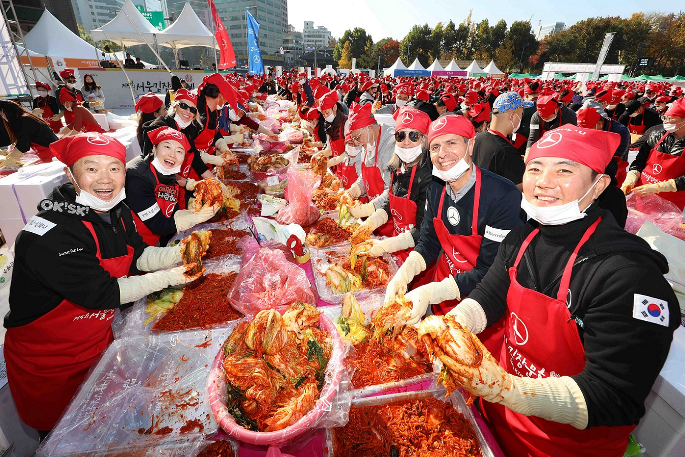 Most people making kimchi simultaneously